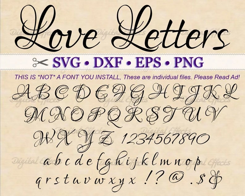 Download Love Letters Fancy Script Monogram Svg Dxf Eps Png | Etsy