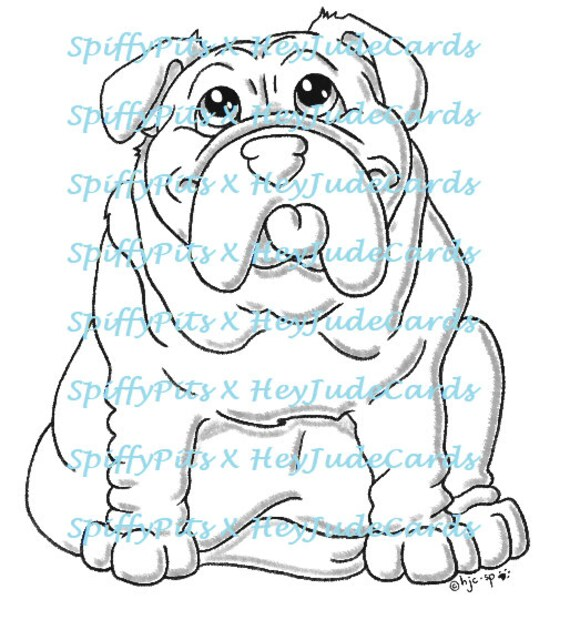 Digital Stamp Or Coloring Page Bulldog Dog Breed Stamp A Etsy