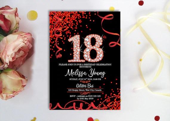 red black diamonds 18th birthday invitation black and red confetti red birthday invite digital