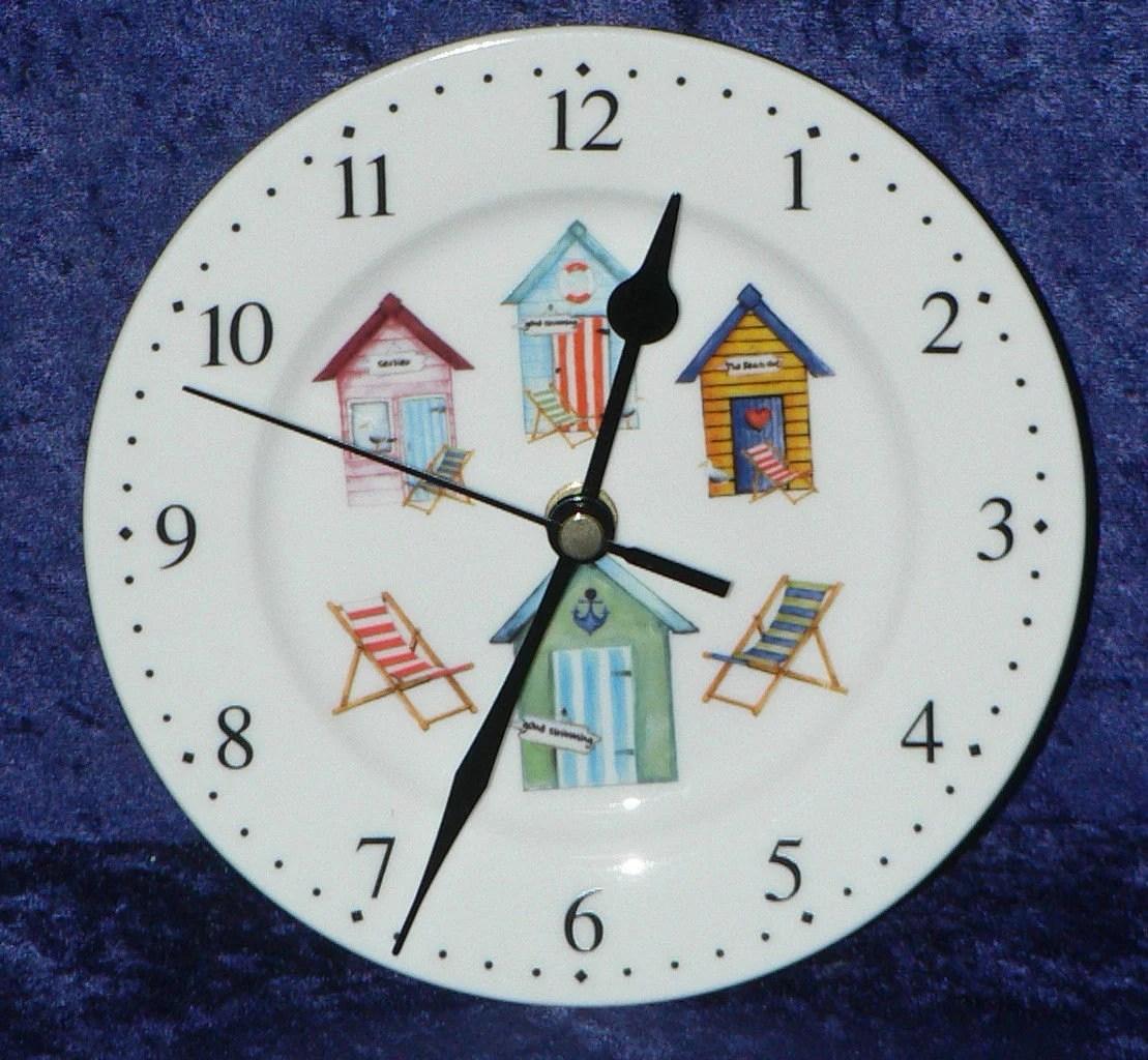 horloge murale de beach hut horloge porcelaine avec design de cabane de plage