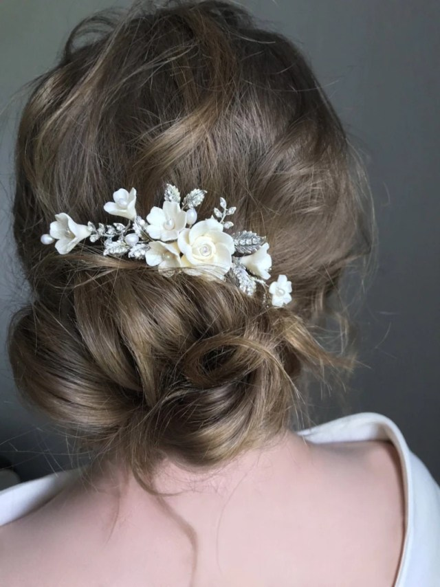 bridal hair comb silver vintage & flowers, wedding hair accessories, ivory floral hair piece for bride, head piece