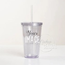 Clear Acrylic Insulated Tumbler 16 Oz Cup Mockup Stock Etsy