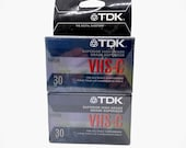 Two Pack TDK VHS-C Videocassette Superior High Grade 30 Minute Blank Camcorder Tape