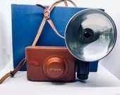 Vintage Argus C3 35MM Camera Rangefinder Leather Carry Case Flash Accessory Original Box
