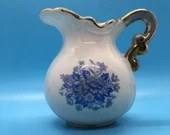 Blue and White Gold Trim Vintage Mini Pitcher