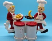 1940's Vintage Tremax Chef Salt and Pepper Wall Hanging Set