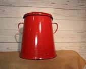 Vintage Red Enamelware Bu...