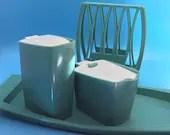 Retro Sugar-Creamer-Napkin Turquoise - Very Cool Set!