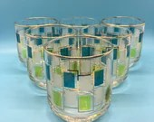 Libby Nordic Vintage Old Fashioned Glasses - 8 oz - mid century Blue & Green - set of 6