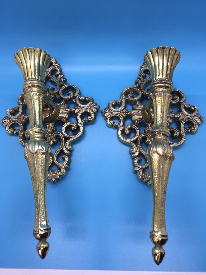 Metal /Candle Sconces /Vintage /1970's /Brass Colored /Regency Style
