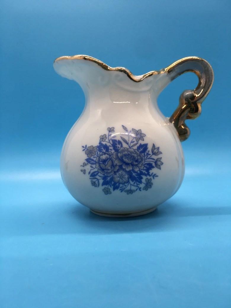 Blue and White Gold Trim Vintage Mini Pitcher