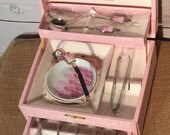 Original H-Craft Silver Played with Pink anf White Porcelain Handles Tea Spoon & Sugar Set