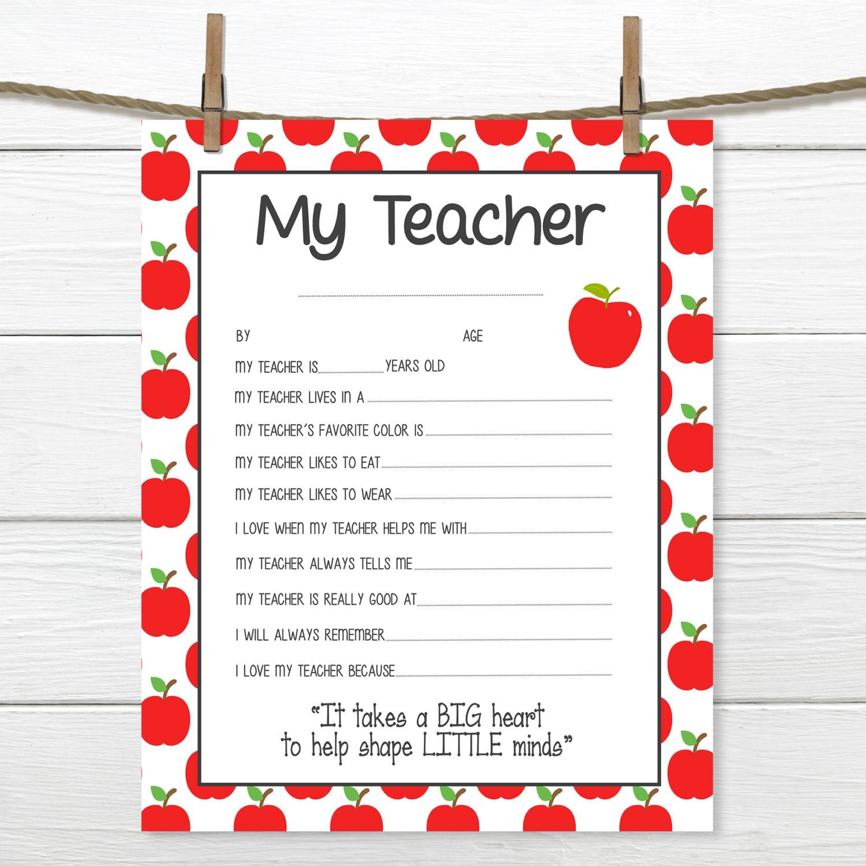 Apples All About My Teacher Teacher Appreciation