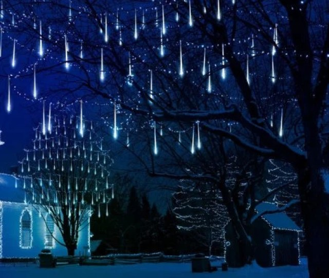 Cm Led Meteor Shower Lights Meteor Rainfall Lights Outdoor Holiday Decoration Christmas Porch Landscaping Waterproof  Tubes
