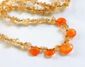 Citrine and carnelian gemstone necklace