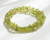 Peridot gemstone wrap bracelet, boho bracelet