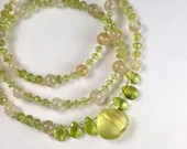 Gemstone necklace with lemon quartz and peridot, August birthstone