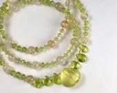 Gemstone necklace with lemon quartz and peridot