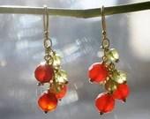 Gemstone earrings with carnelian and peridot