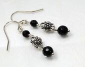Onyx earrings, gemstone earrings
