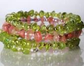 Peridot and rose quartz bracelet,  memory wire bracelet