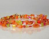 Carnelian gemstone wrap bracelet, boho bracelet