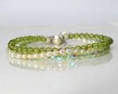 Peridot and freshwater pearl bracelet, arm candy bracelet, stackable bracelet, friendship bracelet