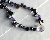 Freshwater pearl necklace with amethyst gemstone briolette, February birthstone