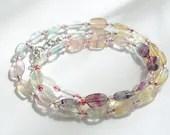 Rainbow fluorite bracelet, wrap bracelet, gemstone bracelet