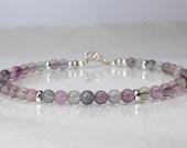 Fluorite gemstone bracelet, arm candy bracelet, stackable bracelet, friendship bracelet, yoga bracelet