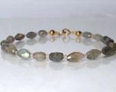 Labradorite and rose quartz gemstone bracelet, arm candy bracelet, friendship bracelet