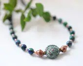 Gemstone necklace with azurite-malachite and copper beads