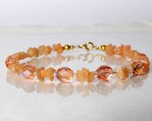 Peach moonstone bracelet, arm candy bracelet, stackable bracelet, friendship bracelet