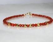 Carnelian and pyrite gemstone bracelet, yoga bracelet, friendship bracelet, stackable bracelet