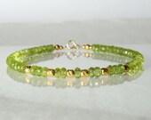 Peridot gemstone bracelet, arm candy bracelet, stackable bracelet, friendship bracelet, yoga bracelet