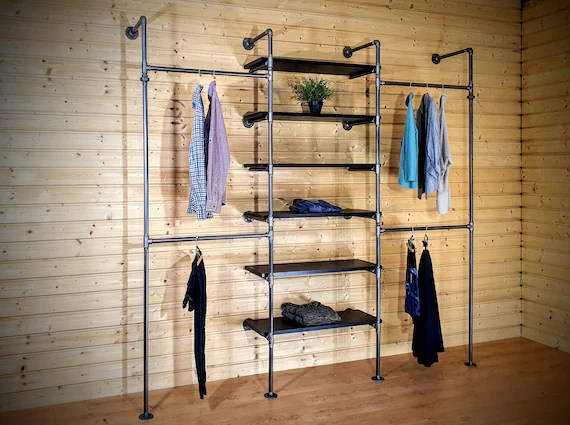 industrial pipe clothing rack with shelves clothes storage etsy
