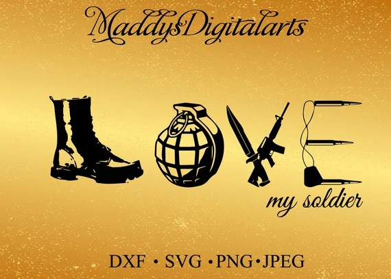 Download Love Army SVG PNG DXF Cut File for Silhouette Cricut Scan ...