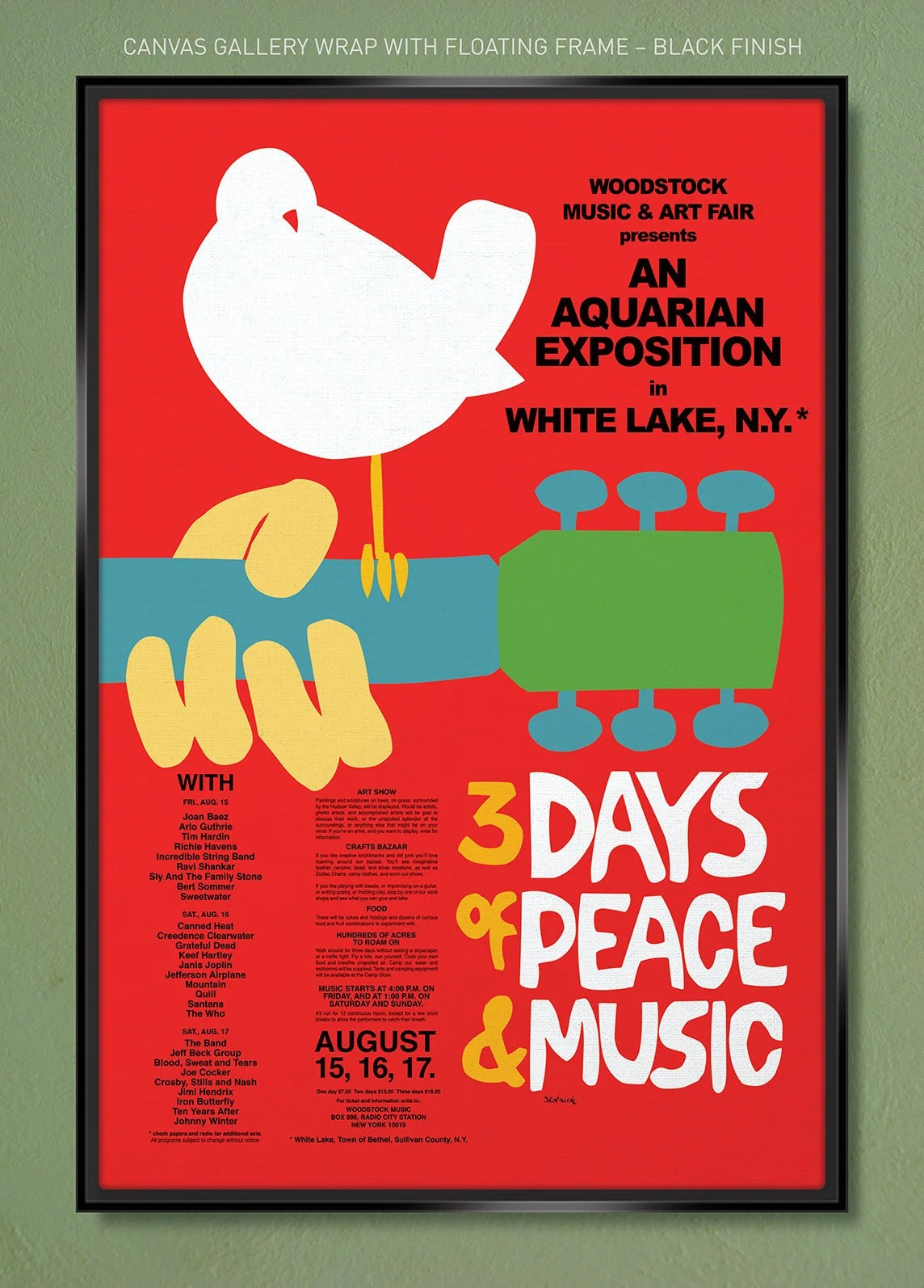 woodstock poster 1969 12x18 20x30 24x36 gallery quality canvas wrap w free ups shipping