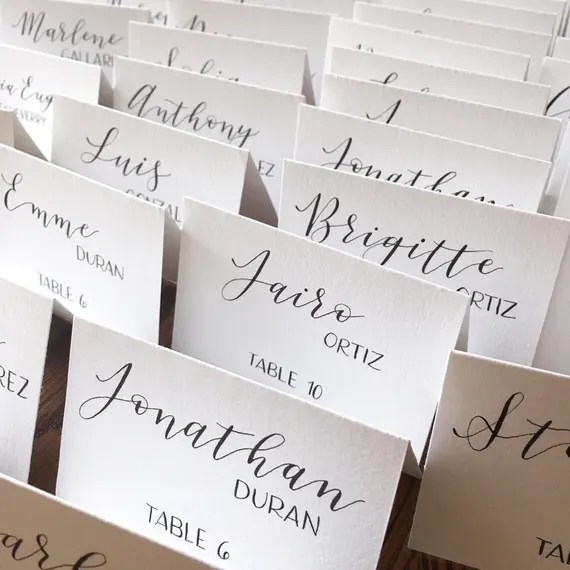 Calligraphy Place Cards Wedding Escort Cards Wedding Place Etsy