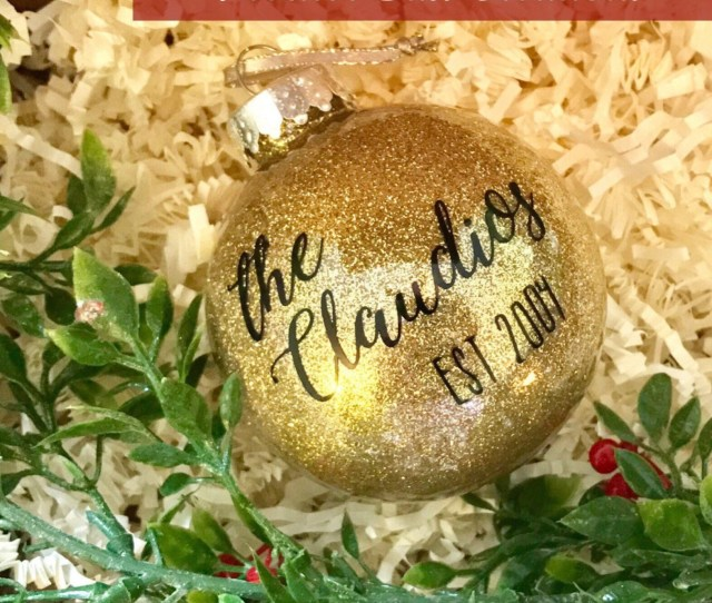 Personalized Christmas Ornament Family Name Ornament Glitter Ornament Monogrammed Ornament Unique Gift Newlywed Gift