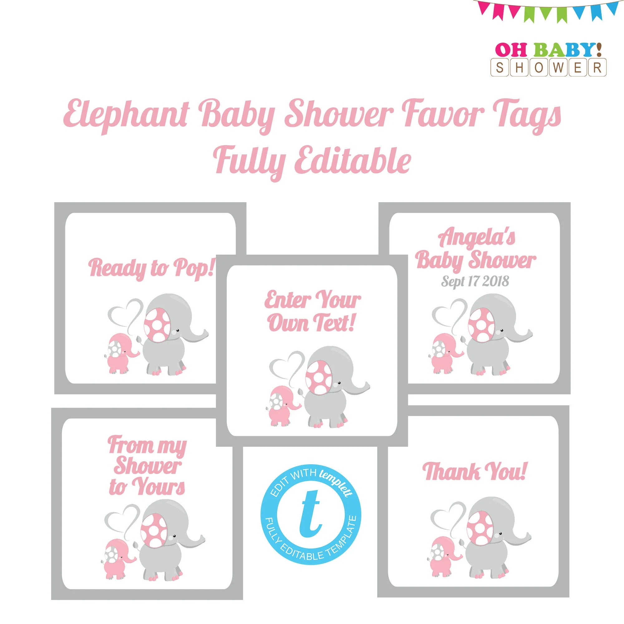 Editable Favor Tags Pink And Gray Elephant Baby Shower