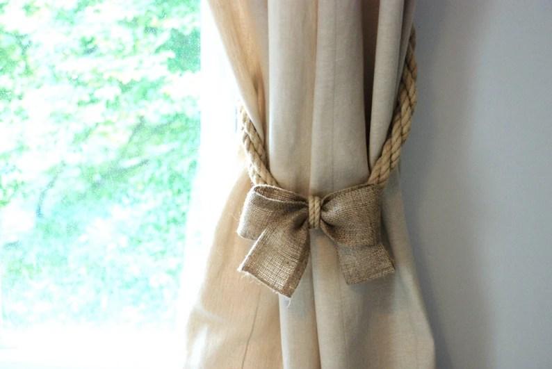 hemp rope and burlap bow curtain
