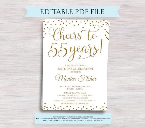 editable 55th birthday party invitation template cheers to 55 years 55th anniversary invitation gold birthday invite digital printable pdf