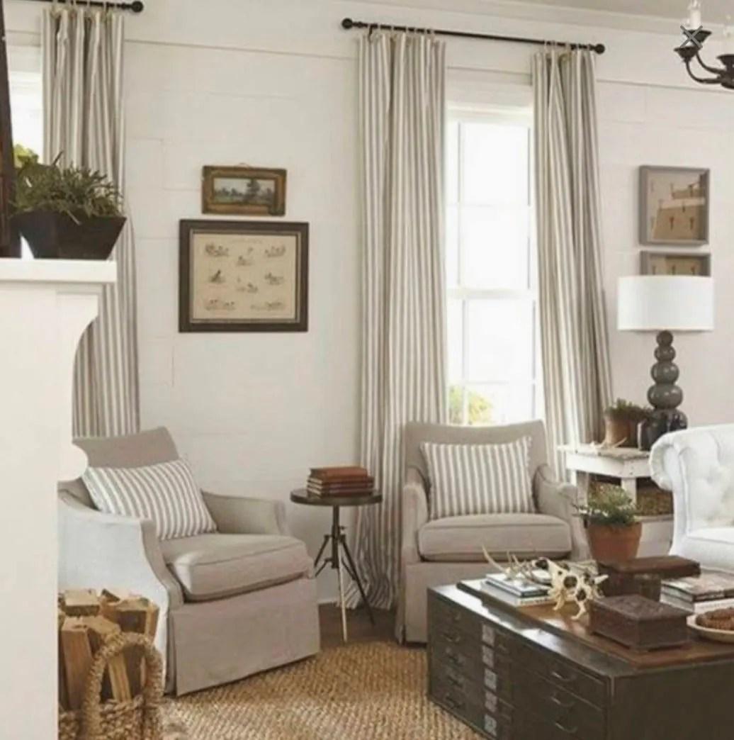 Modern farmhouse curtains tan stripe curtains cottage chic ... on Farmhouse Dining Room Curtain Ideas  id=34361