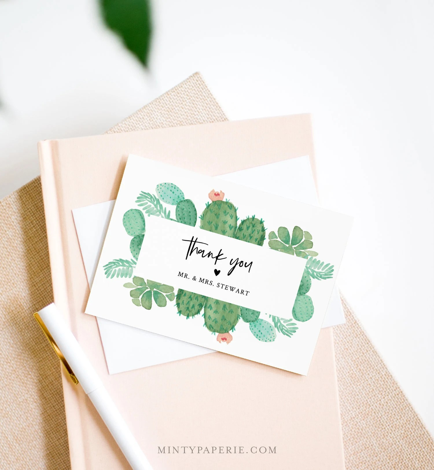 Succulent Thank You Card Template Instant Download 100 Editable Text Printable Cactus Wedding Thank You Folded Card Diy 086 131tyc