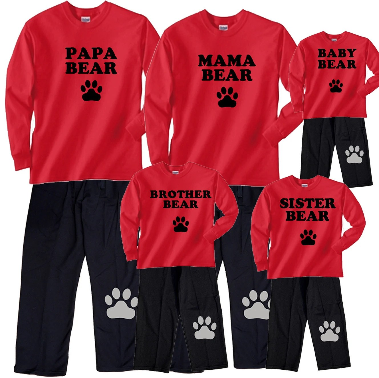 Bear Family Matching Pajamas In Red In Sizes For Mama Bear
