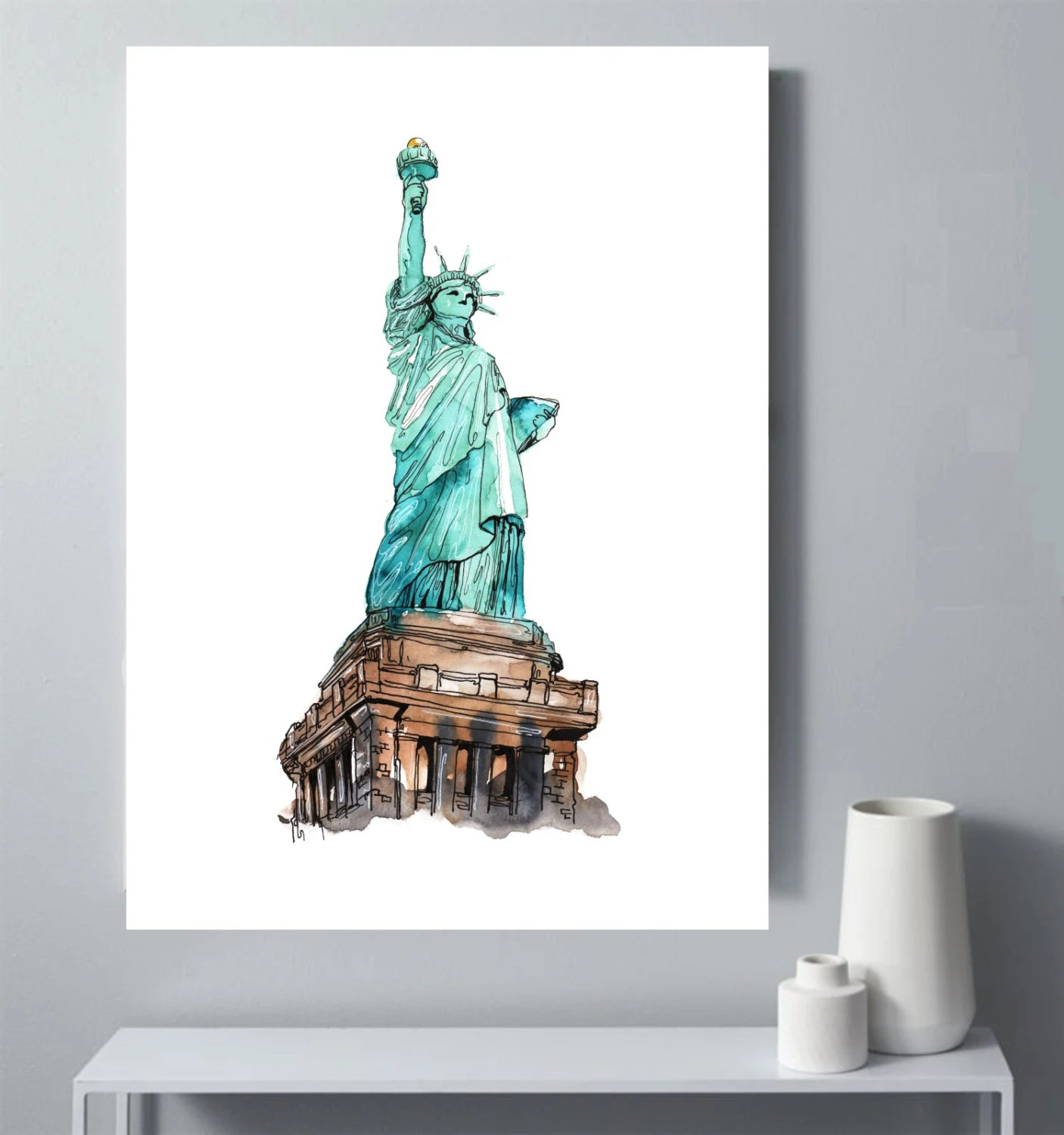 Statue Of Liberty Watercolor Printable Office Decor Statue