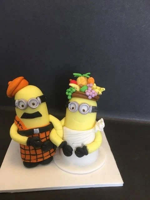 Minion wedding cake topper   Etsy Bride and groom minions inspired edible cake toppers