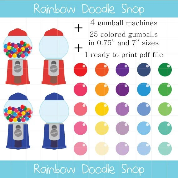 Gumball Machine Clipart Colorful Candy Clipart Gumball Clip Etsy