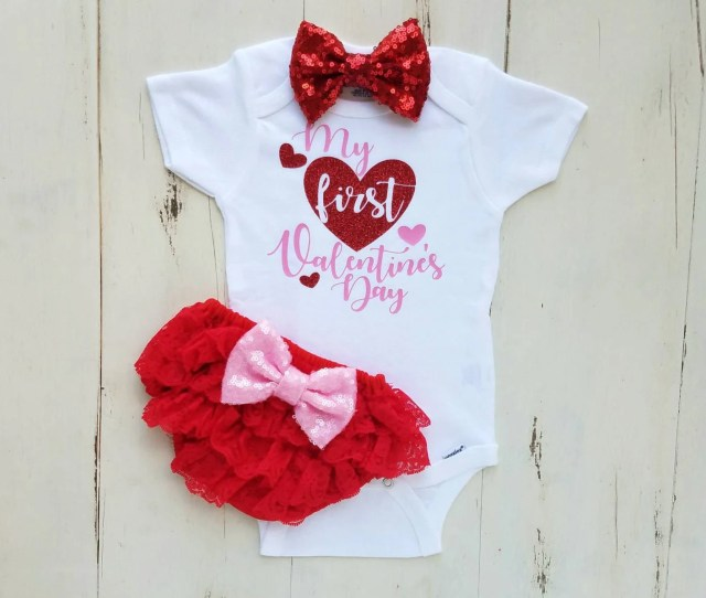 Valentines Day Outfit Baby Girl St Valentines Day Outfit Girl Valentine Onesie My First Valentines Day Baby Girl Clothes Baby Girl